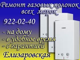 Ремонт газовых колонок Елизаровская